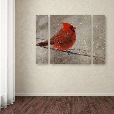 """24 in. x 32 in. """"Cardinal in Winter"""" by Lois Bryan Printed Canvas Wall Art"""