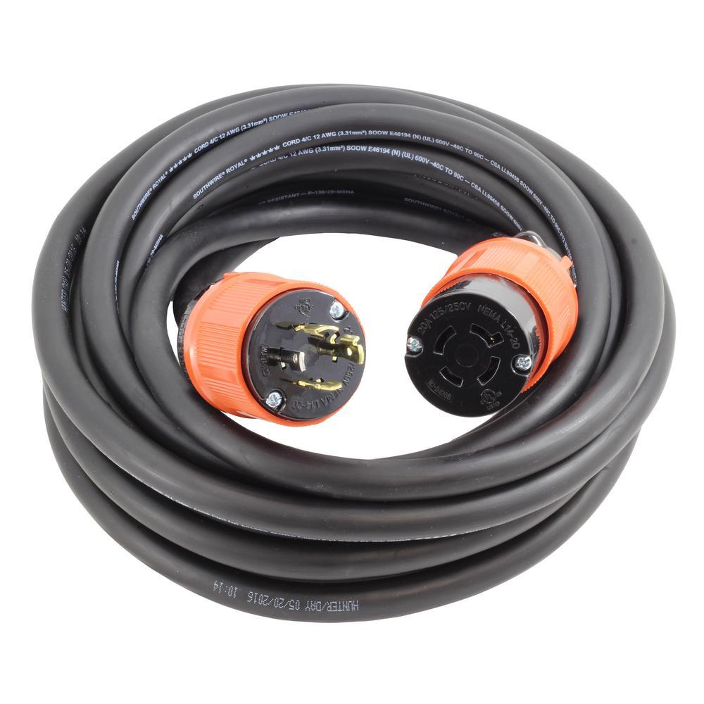 AC Connectors 25 ft. 12/4 Heavy Duty SOOW L14-20 20 Amp 125/250-Volt Generator Rubber Extension Cord