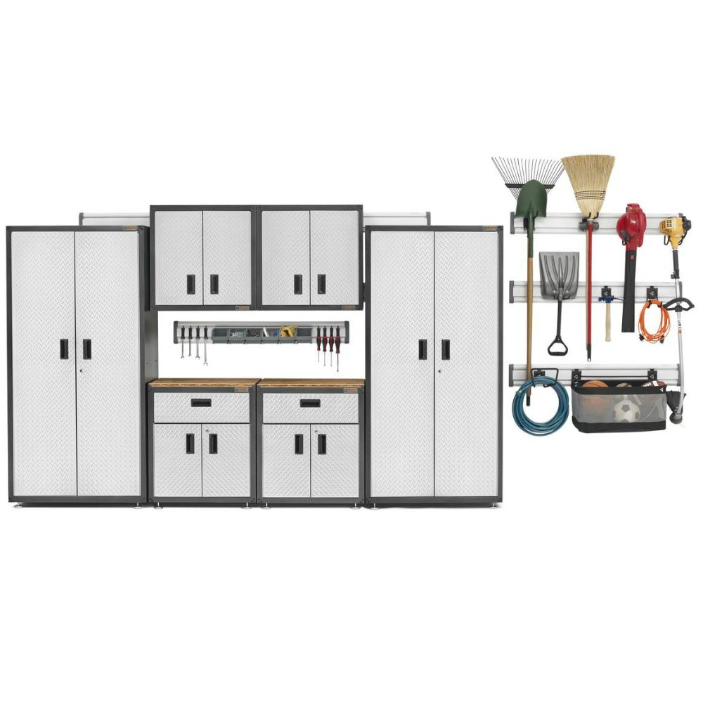 Gladiator Ready-to-Assemble 72 in. H x 128 in. W x 18 in. D Steel Garage Cabinet and Wall Storage System in Silver (17-Piece)
