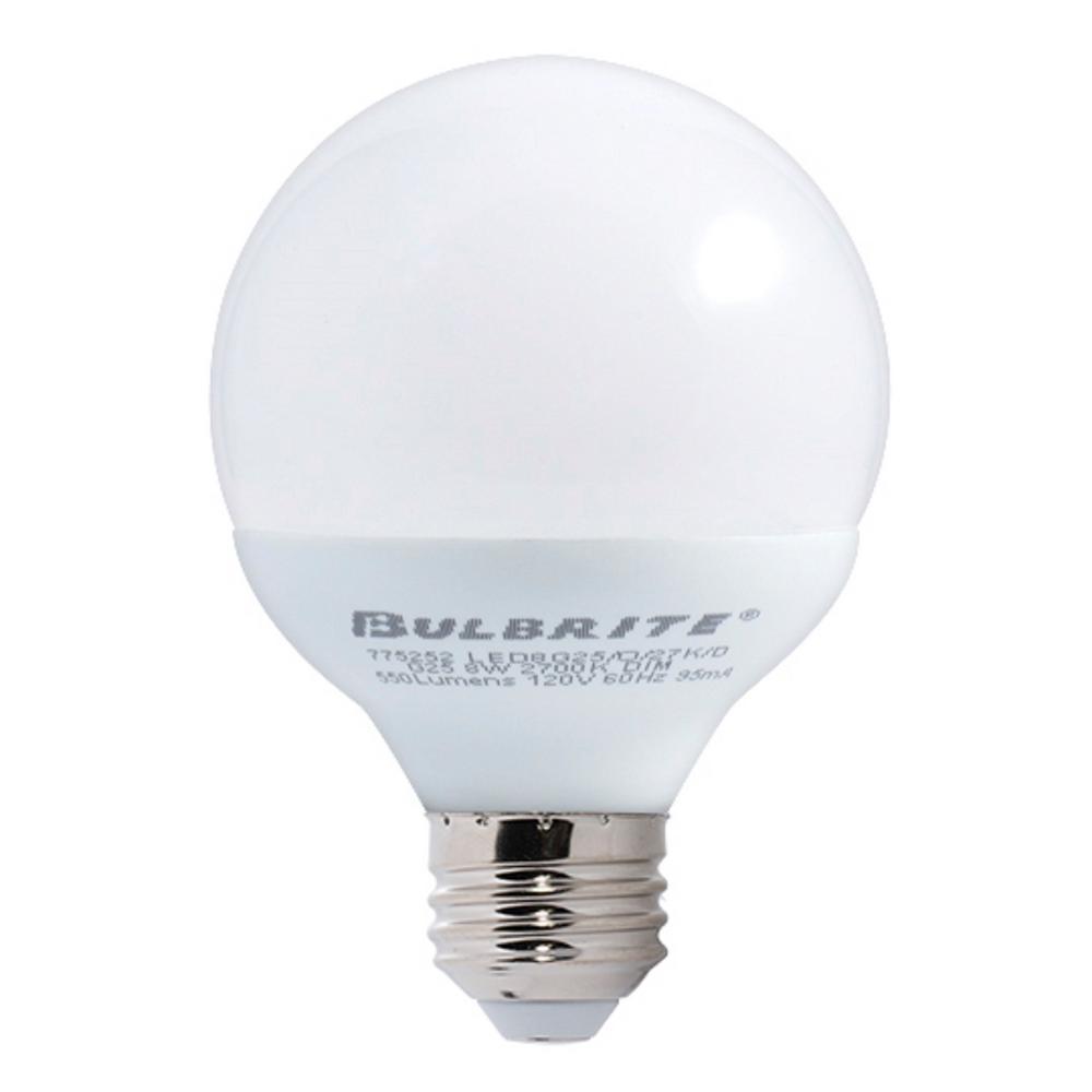 60W Equivalent Warm White Light G25 Dimmable LED Medium Screw Light Bulb