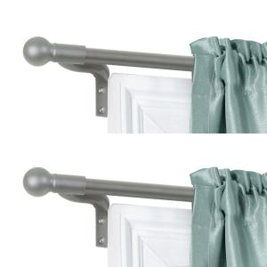 Smart Rods No Measuring Easy Install 18 - 48 in. Adjustable Cafe Window Rod with Ball Finials in Brushed Nickel, 2 Rods
