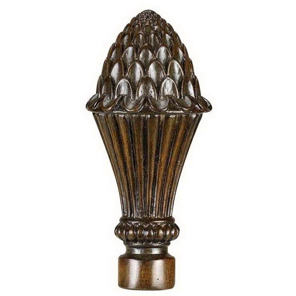 CAL Lighting 3.88 in. Brown Acorn Resin Lamp Finial