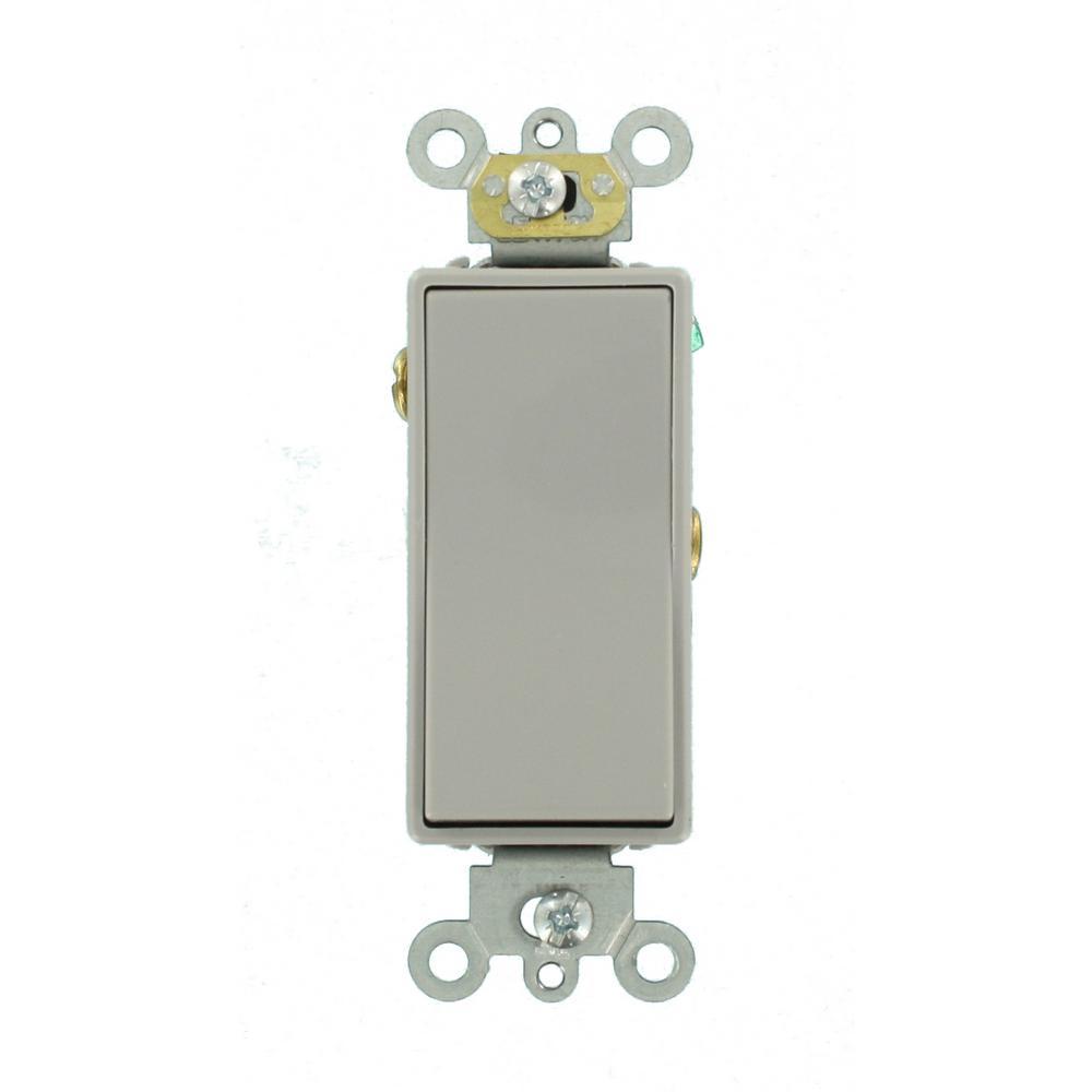 15 Amp Decora Plus Commercial Grade Single Pole Rocker Switch, Gray