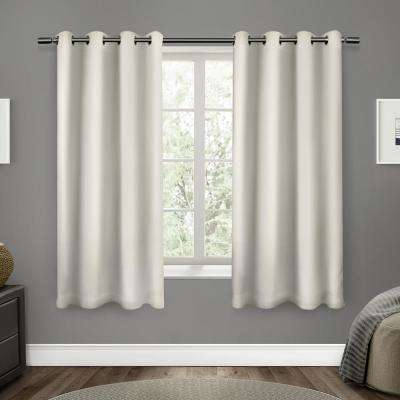 Sateen 52 in. W x 63 in. L Woven Blackout Grommet Top Curtain Panel in Vanilla (2 Panels)