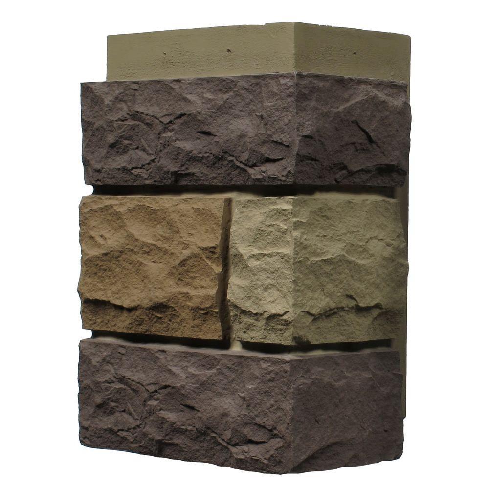 Random Rock New England Mocha 11 in. x 7 in. Faux Stone Siding Corner (4-Pack)