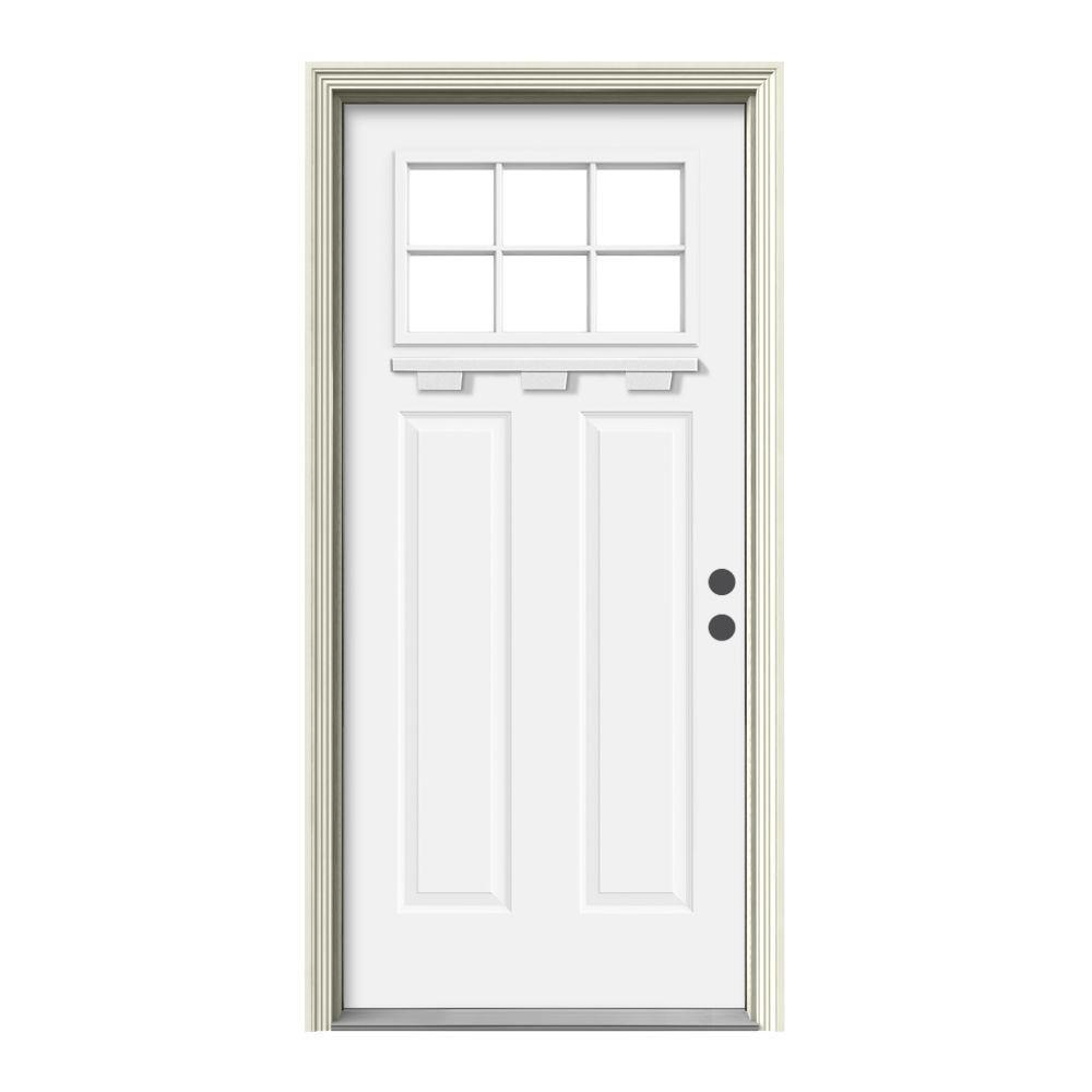 6-Lite Craftsman Painted Steel Prehung Front Door with Brickmold and Shelf