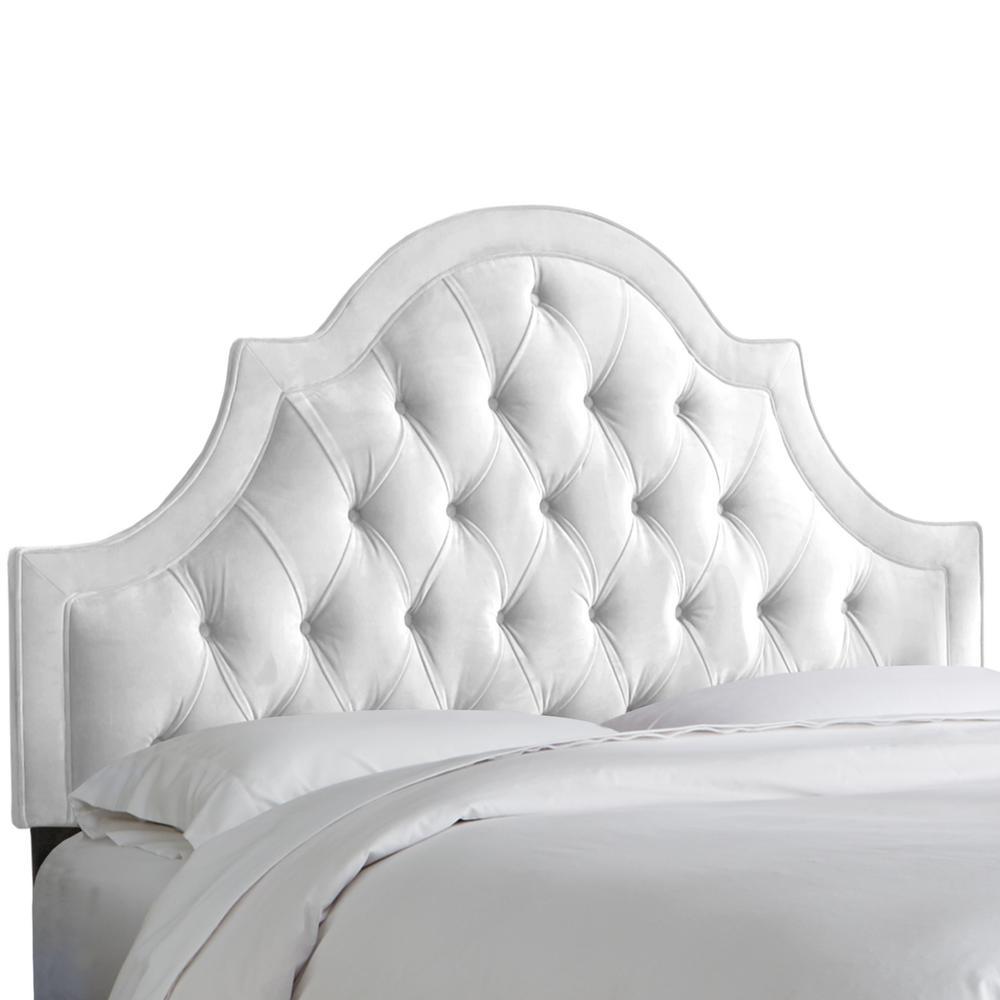 Velvet White Queen High Arch Tufted Headboard