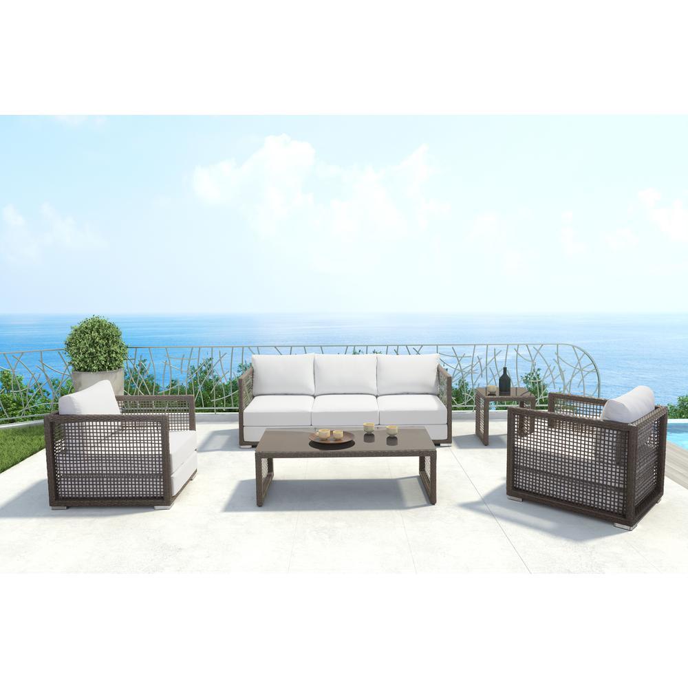 Coronado Sunproof Fabric Aluminiumn Outdoor Sofa with Light Gray Cushions