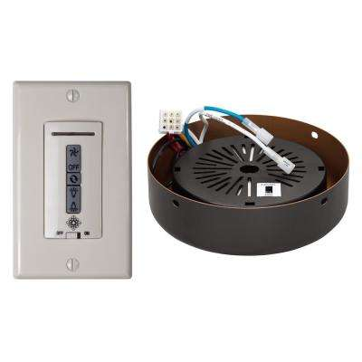 White and Almond Hardwired Ceiling Fan Wall Remote Control and Receiver with Roman Bronze Receiver Hub
