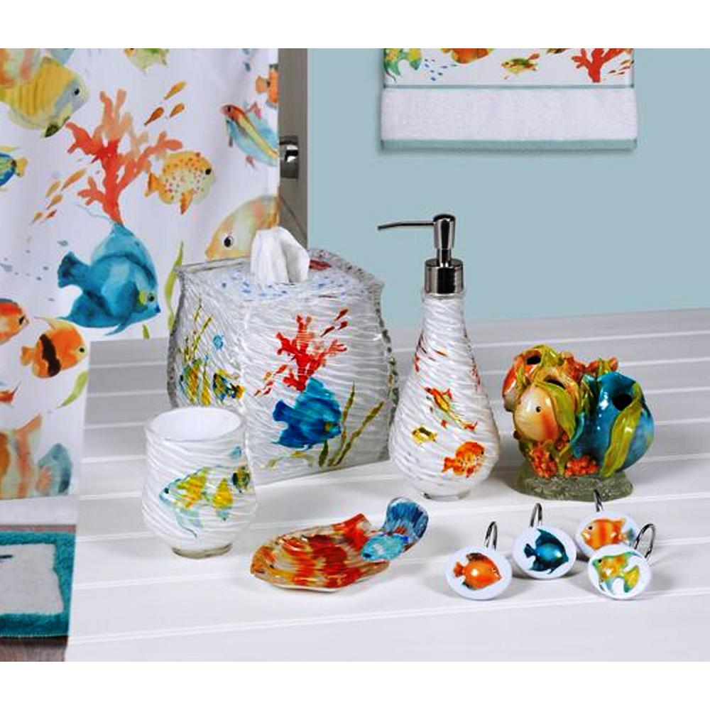 Blue And Yellow Bathroom Decor: Rainbow Fish 6-Piece Bath Accessory Set In Multi-Color