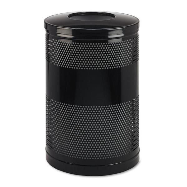 51 Gal. Black Open Top Trash Can with Levelers