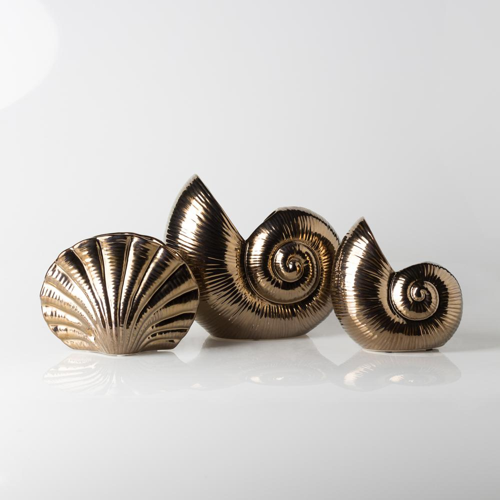 Dynr Gold 3-Piece Decorative Shell Set