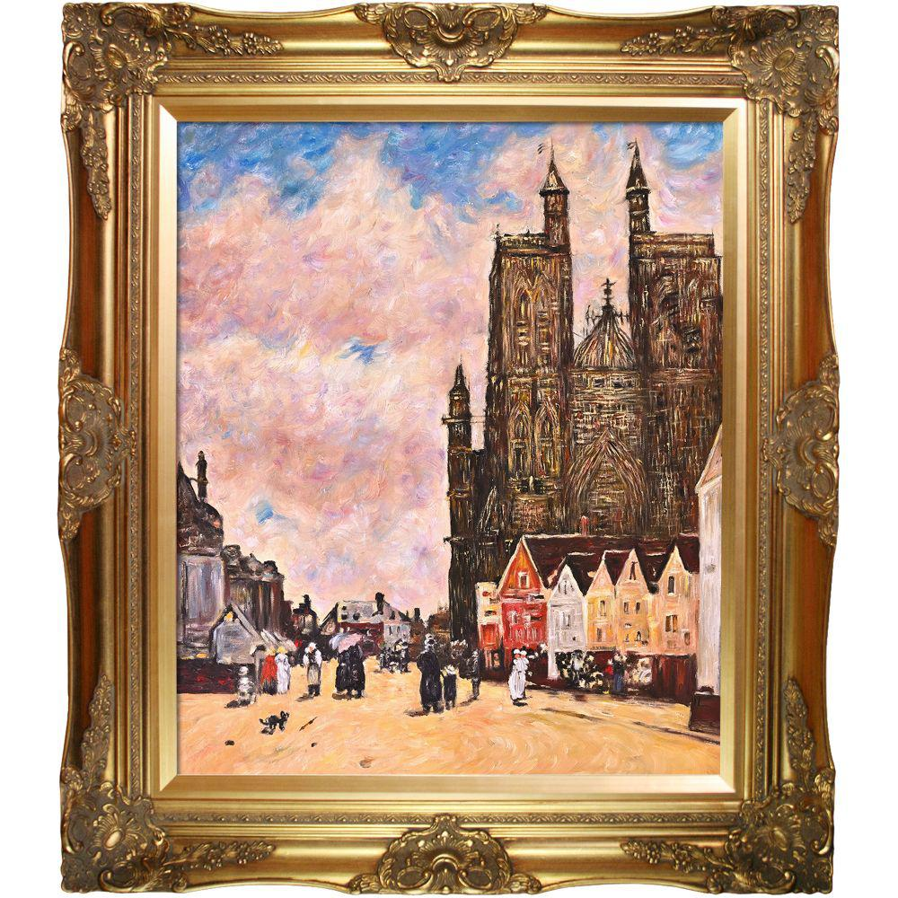 LA PASTICHE Abbeville, Street and the Church of Saint-Folfranby Eugene Boudin Framed Abstract Wall Art 28 in. x 32 in., Multi-Colored was $895.0 now $411.56 (54.0% off)