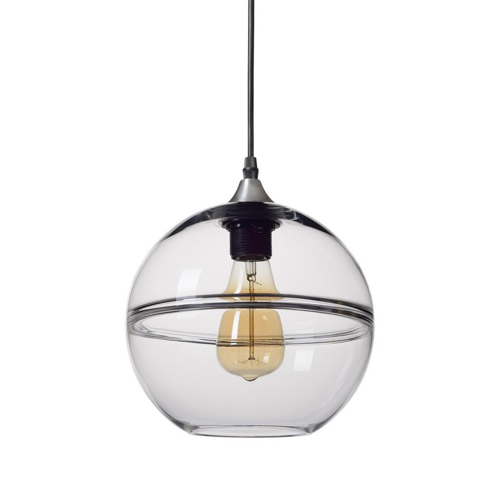"""Casamotion 9 in. H 1-Light Unique Optic Contemporary Silver """"DoubleEyelid"""" Hand Blown Glass Pendant with Clear Glass Shade"""