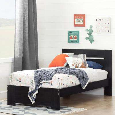 Reevo Black Onyx Twin-Size Complete Bed