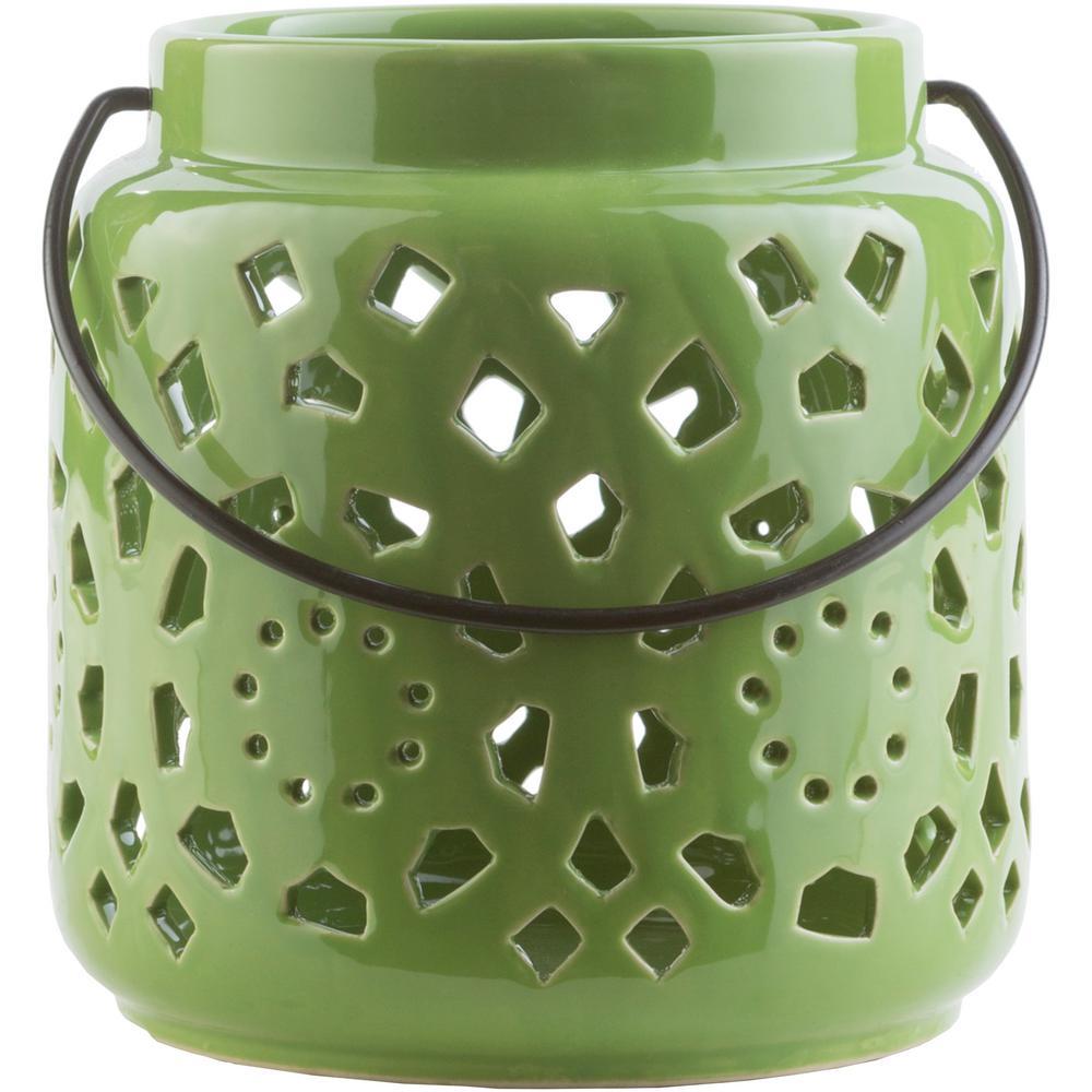 Kimba 6.5 in. Grass Green Ceramic Lantern
