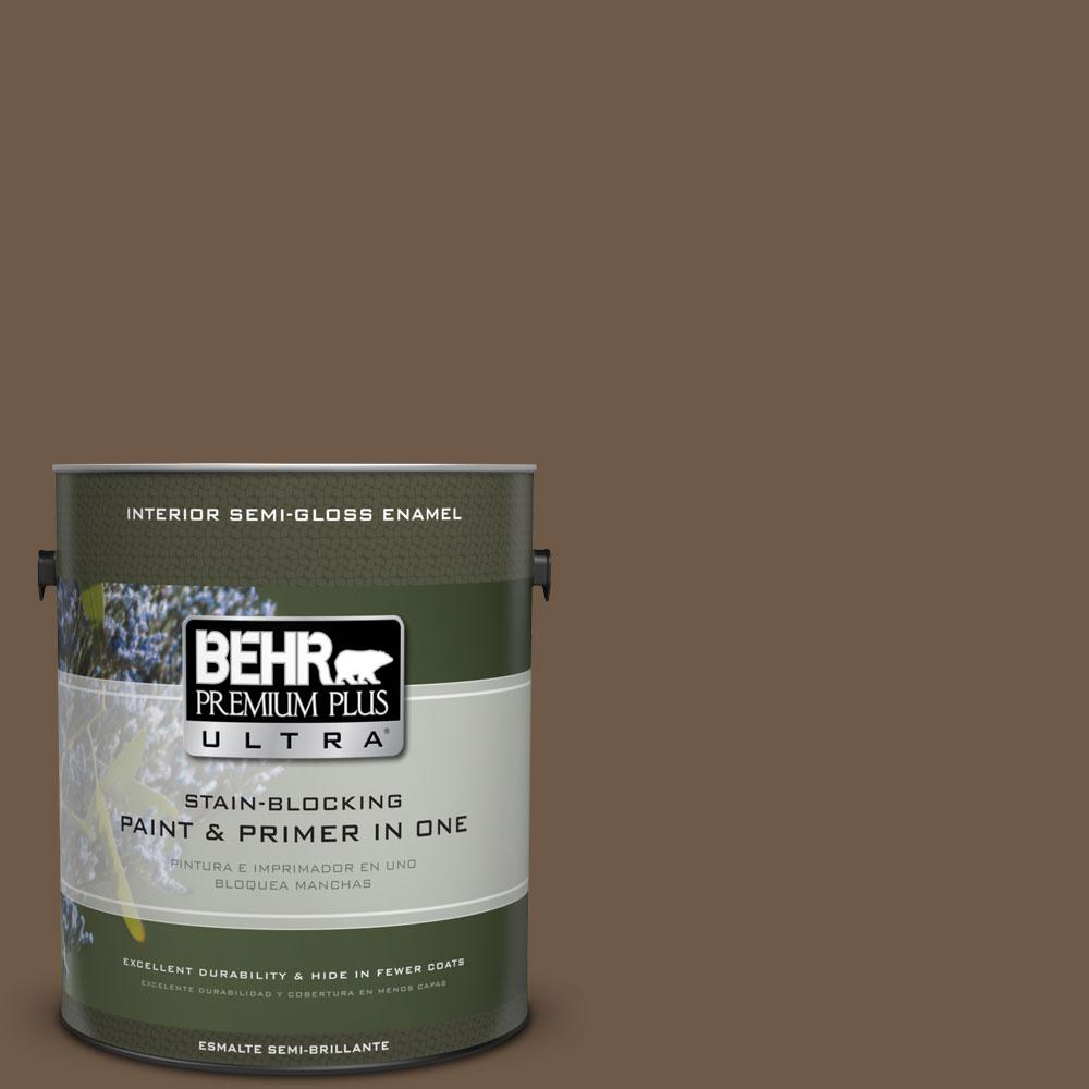 BEHR Premium Plus Ultra 1-gal. #N230-7 Rustic Tobacco Semi-Gloss Enamel Interior Paint