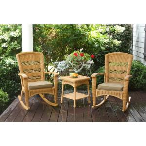 Portside Plantation Amber 3-Piece Wicker Outdoor Rocking Chair Set with Tan Cushion