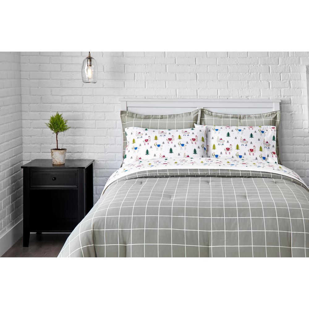 Stylewell 3-Piece Full/Queen Flannel Comforter Set in Stone Gray Windowpane