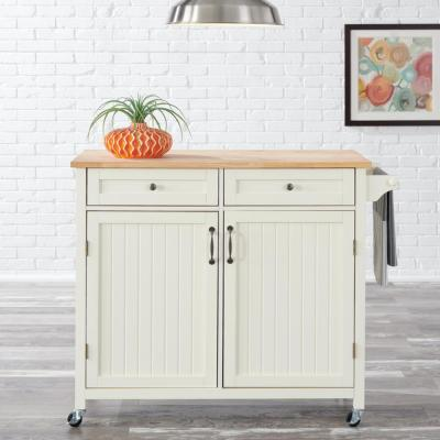 Bainport Ivory Kitchen Cart with Butcher Block Top