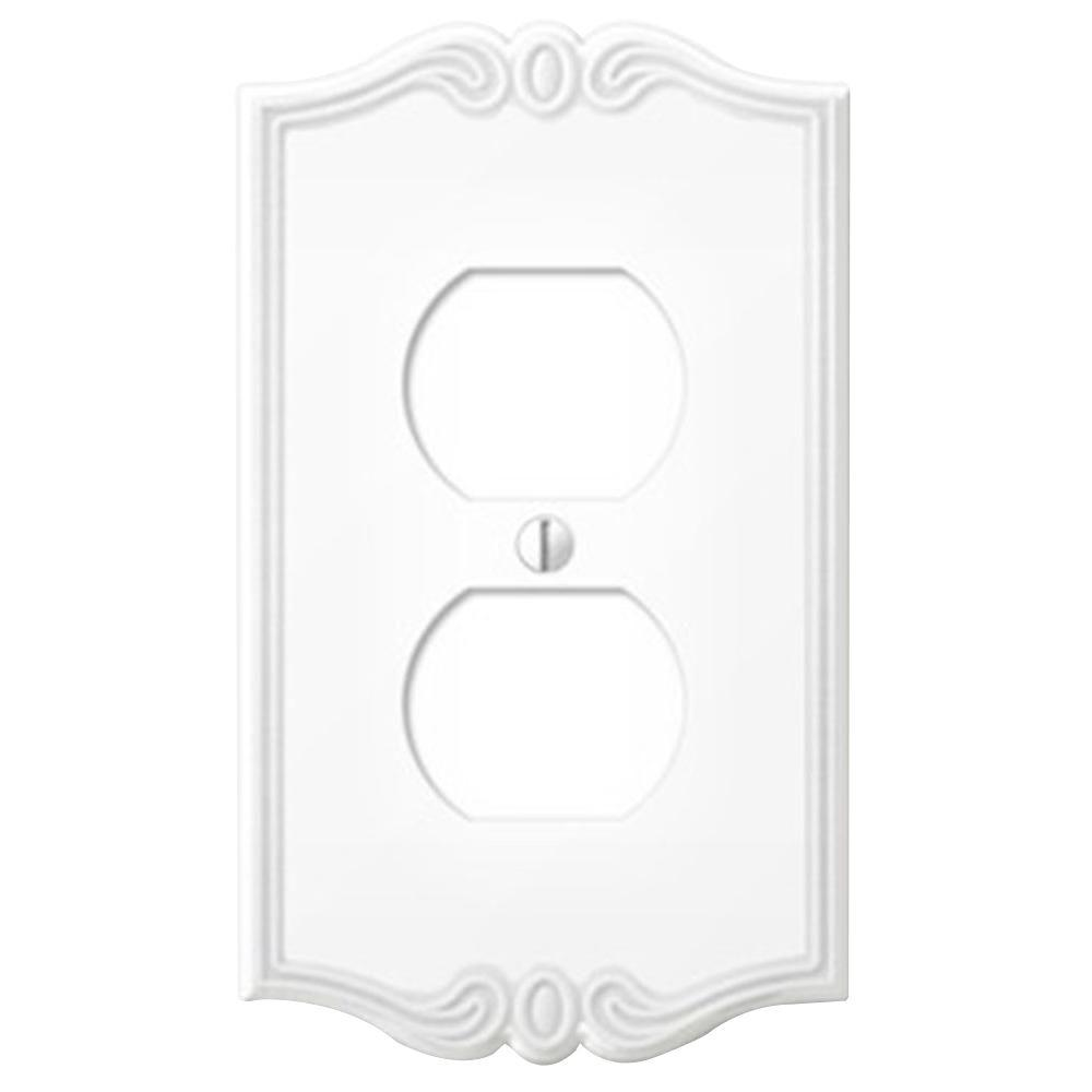 Creative Accents Charleston 1 Outlet Wall Plate - White-DISCONTINUED