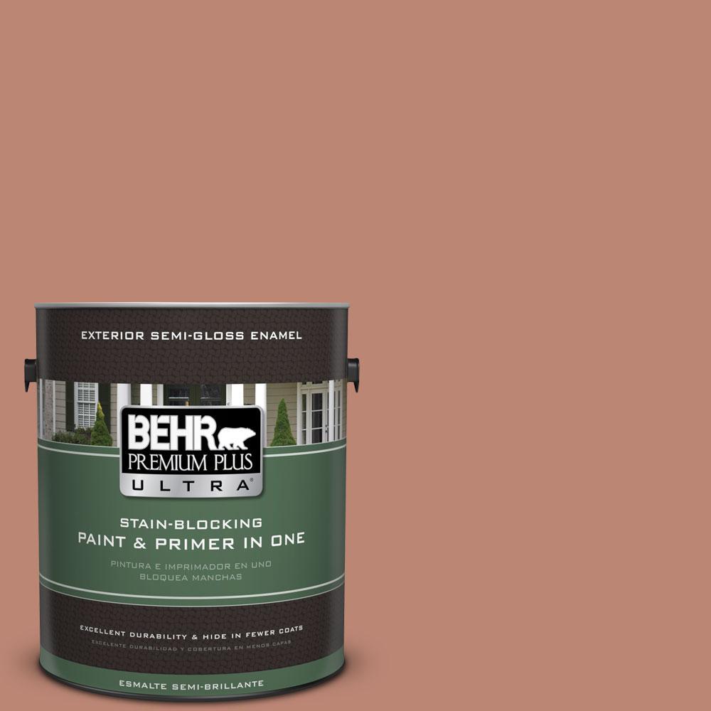 BEHR Premium Plus Ultra 1-gal. #PPU2-9 Ginger Rose Semi-Gloss Enamel Exterior Paint
