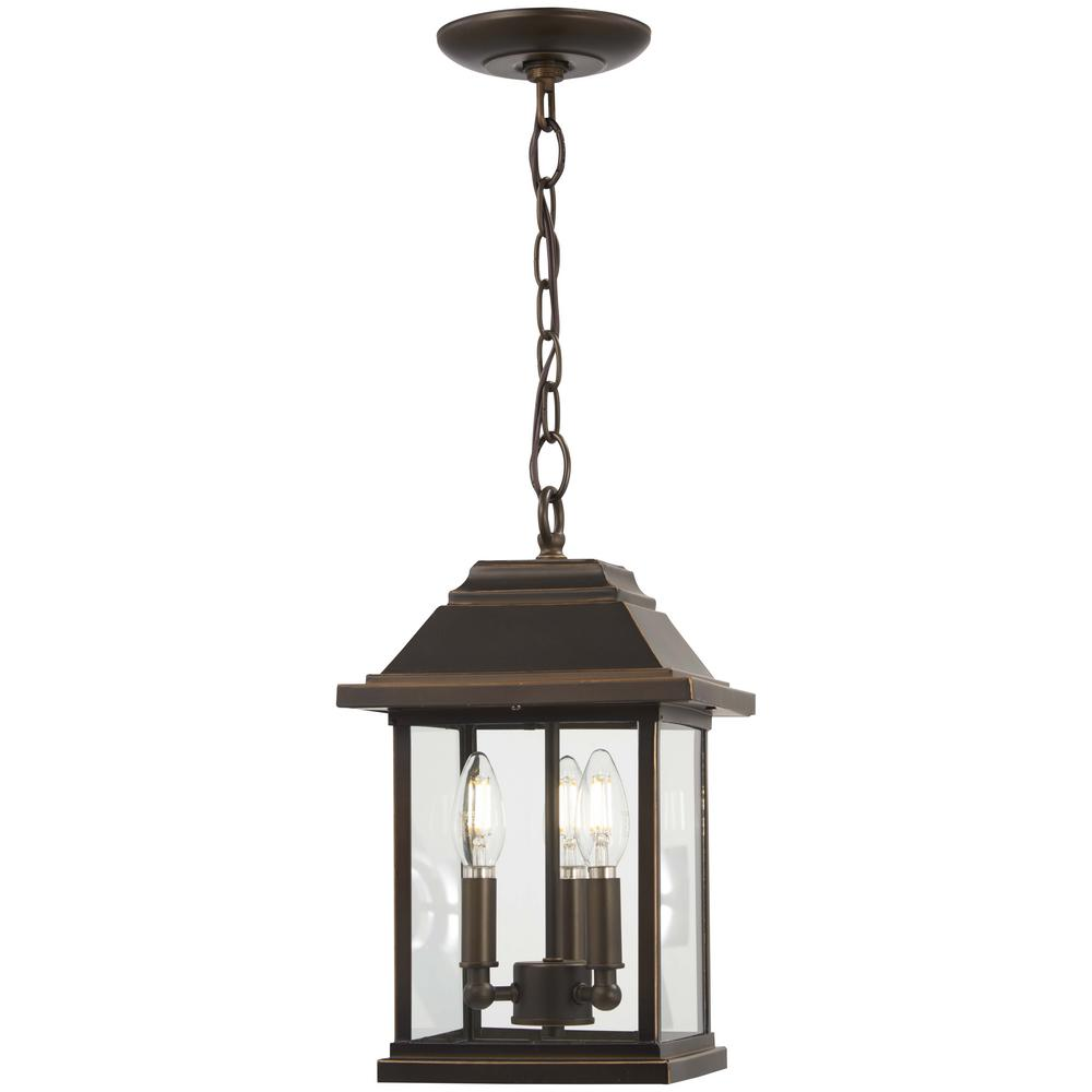 The Great Outdoors Mariner's Pointe Collection Oil Rubbed Bronze Outdoor 3-Light Hanging Lantern with Gold Highlights