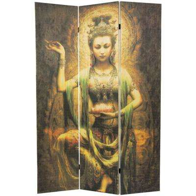 6 ft. Multi Color 3-Panel Kwan Yin with Lotus Room Divider