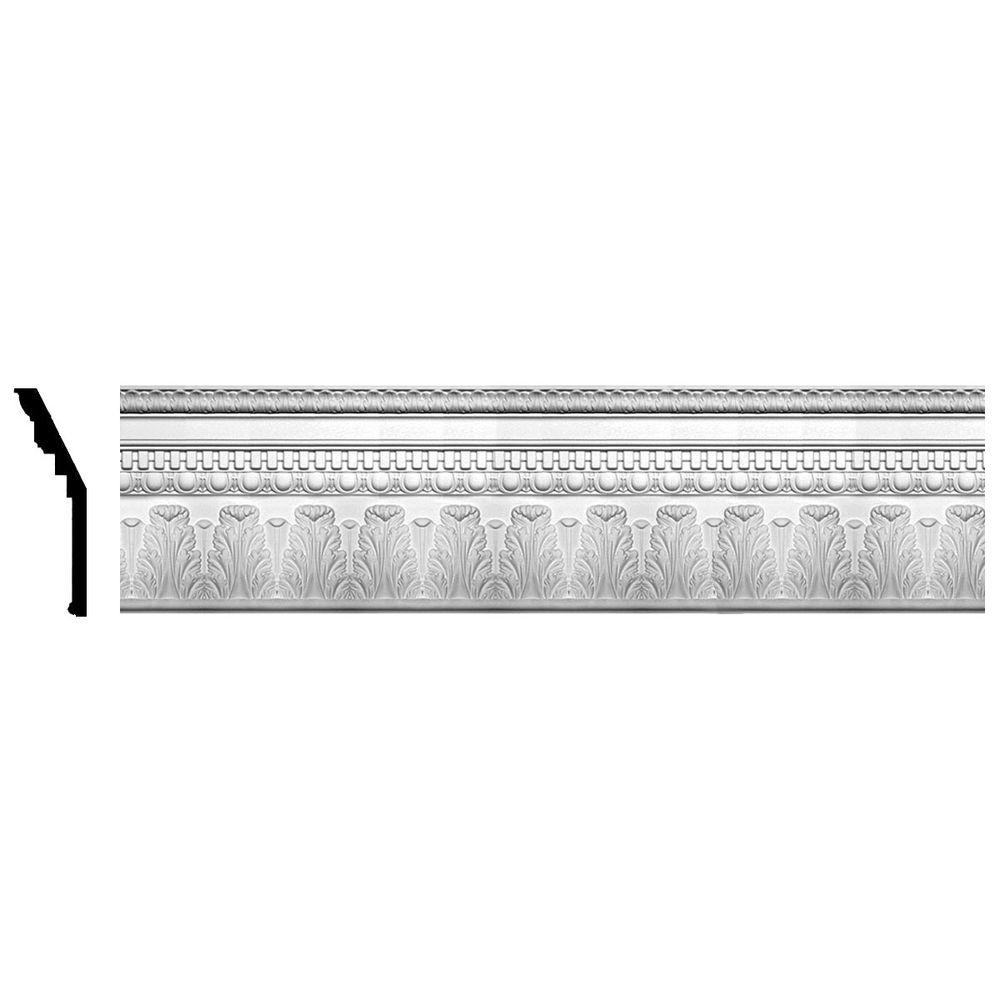 Ekena Millwork 4 in. x 11-7/8 in. x 96 in. Polyurethane Chesterfield Dentil and Egg Crown Moulding