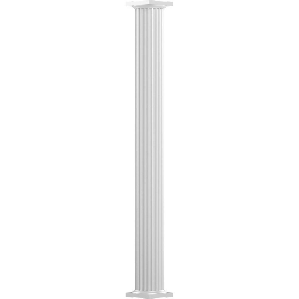 AFCO 6 in. x 8 ft. Gloss White Non-Tapered Fluted Round Shaft Endura-Aluminum Column