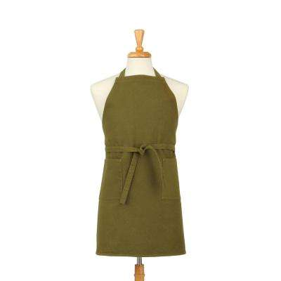 Two Pocket Cotton Canvas Chef's Apron, Military Green