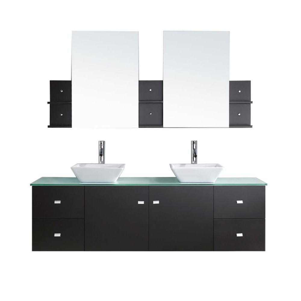 Virtu USA Clarissa 72 in. W Bath Vanity in Espresso with Glass Vanity Top in Aqua with Square Basin and Mirror and Faucet
