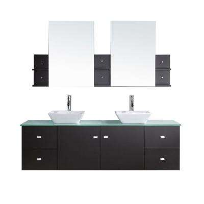 Clarissa 72 in. W Bath Vanity in Espresso with Glass Vanity Top in Aqua with Square Basin and Mirror and Faucet
