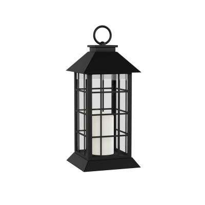 Vintage Grid-Style Lantern and Flameless Candle