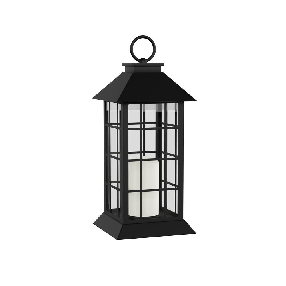 Lavish Home Vintage Grid-Style Lantern and Flameless Candle HW1000017