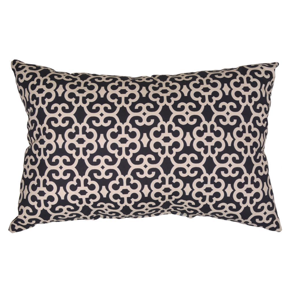 Hampton Bay Black Trellis Lumbar Outdoor Throw Pillow 7955 04209911