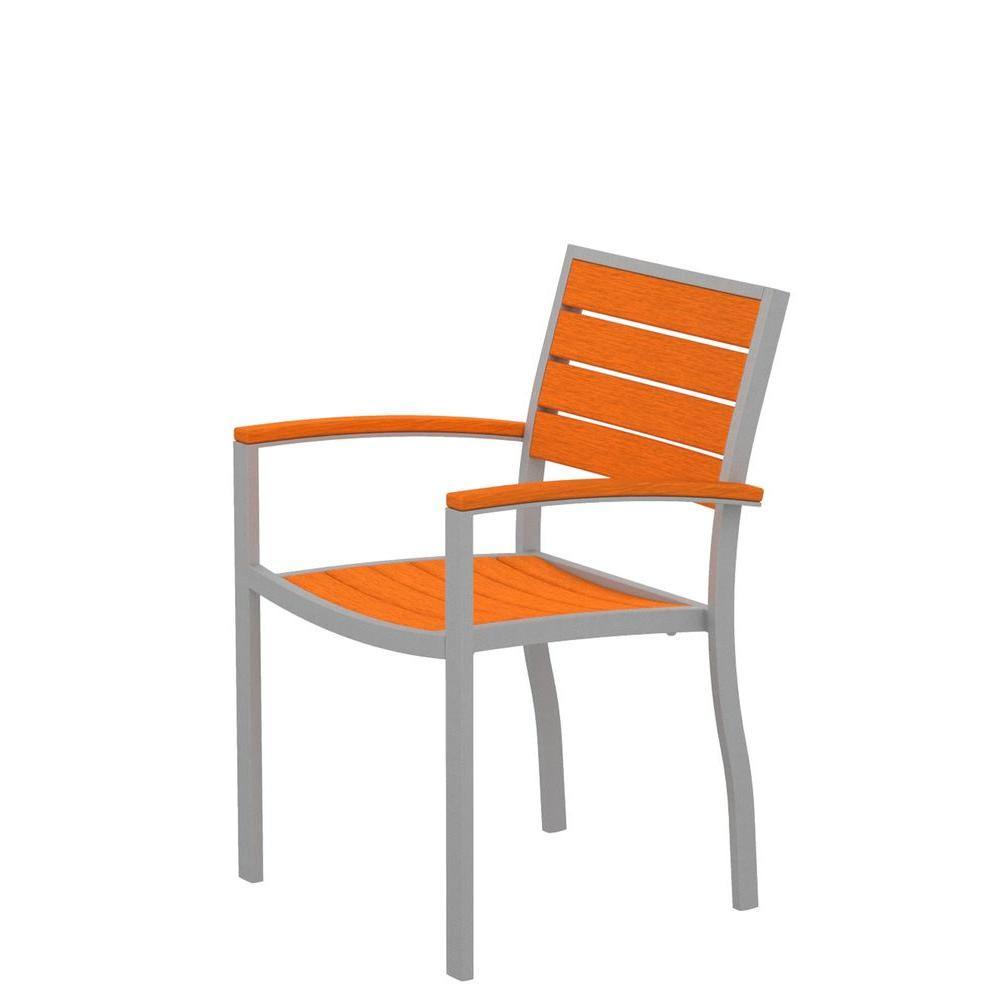 POLYWOOD Euro Textured Silver Aluminum/Plastic Outdoor Dining Arm Chair in Tangerine Slats
