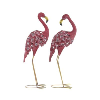"""38"""" Inch Tall Pink Metal Flamingo with Rhinestone Gem Wings Garden Statues, Set of 2"""
