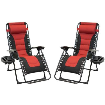 Black Frame Red and Black Patio Premier Padded Gravity Foldable Chairs with Foot Cover and Big Cupholder (2-Pack)