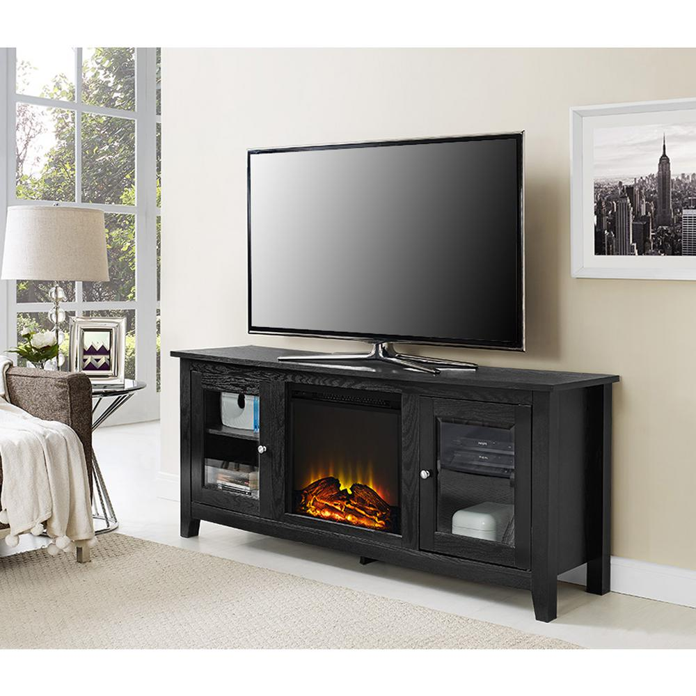 tv center fireplace with black colors console entertainment for tvs itm up ebay multiple to carson