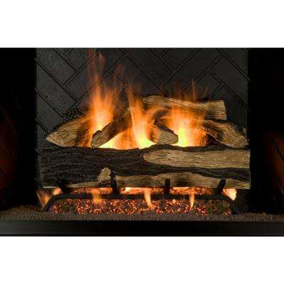 24 in. Seasoned Hickory Vented Natural Gas Fireplace Log Set