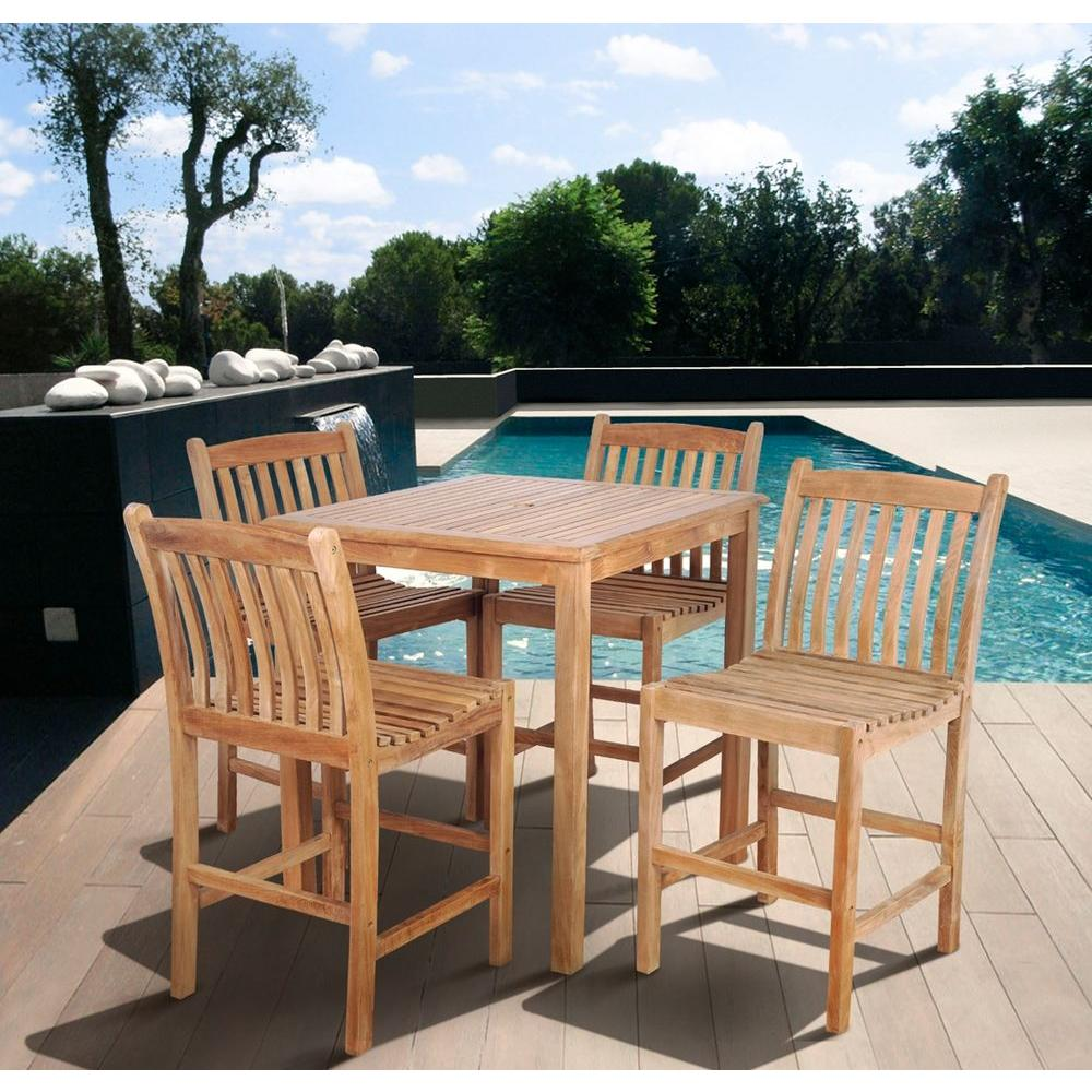 Amazonia Eden Teak Piece Patio Bar SetSCARESBOMA The Home Depot - Teak bar height table and chairs