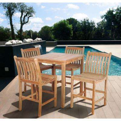 Magnificent Eden Teak 5 Piece Patio Bar Set Home Interior And Landscaping Ologienasavecom