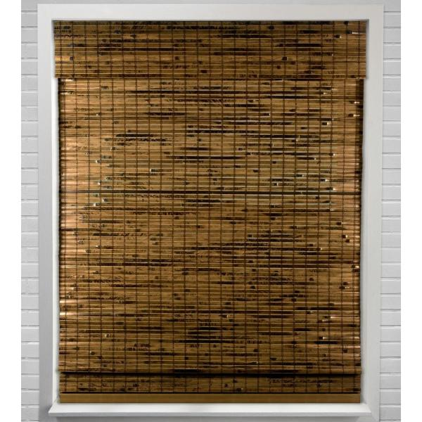 Arlo Blinds Java Deep Cordless Light Filtering Bamboo Woven Roman Shade 21 5 In W X 60 In L Actual Size 04cbn214600 The Home Depot