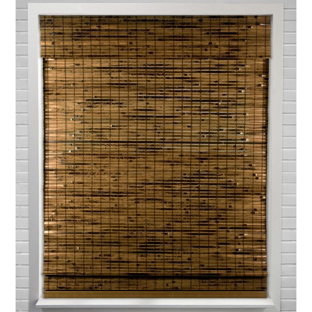 Arlo Blinds Java Deep Cordless Light Filtering Bamboo Woven Roman Shade 31 In W X 74 In L Actual Size 04cbn310740 The Home Depot