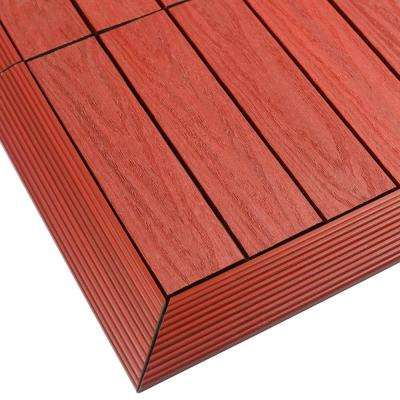 1/6 ft. x 1 ft. Quick Deck Composite Deck Tile Outside Corner Trim in Swedish Red (2-Pieces/box)