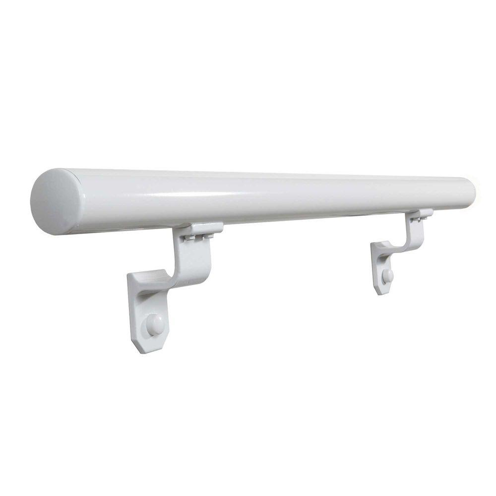 EZ Handrail 1.9 In. X 72 In. Round White Aluminum Hand Rail With End