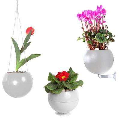 7 in. x 6 in. x 7 in. White Plastic, Table, Wall and Ceiling Planter (3-Pack)