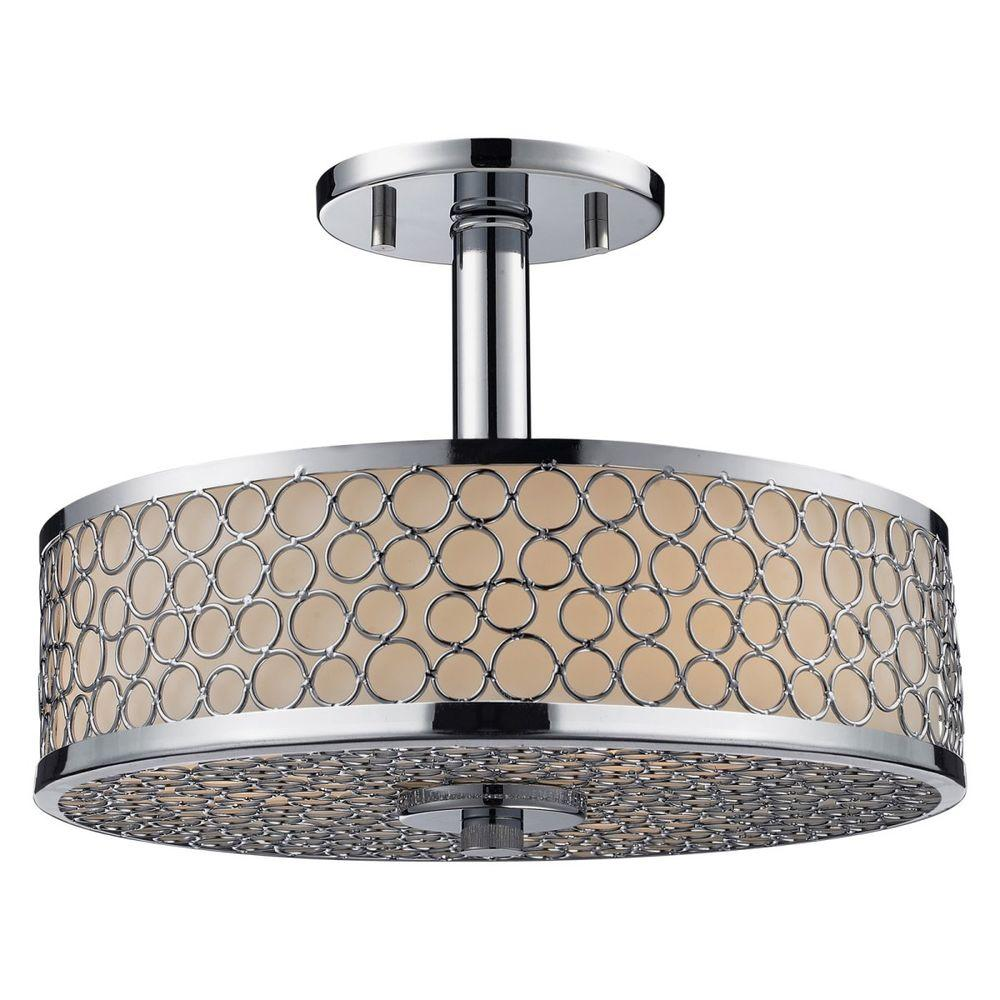 Filament Design Lawrence 3-Light Chrome and Matte Opal Incandescent Ceiling Flushmount