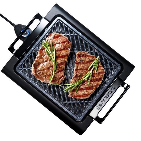 224 sq. in. Triple Layer Non-Stick Titanium and Diamond Infused Coating Electric Smoke-less Indoor Grill